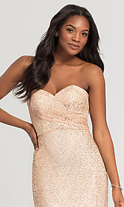 Image of long glitter strapless Kleinfeld bridesmaid dress. Style: KL-200069 Detail Image 1