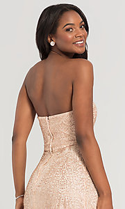 Image of long glitter strapless Kleinfeld bridesmaid dress. Style: KL-200069 Detail Image 2