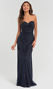 Image of long glitter strapless Kleinfeld bridesmaid dress. Style: KL-200069 Detail Image 3