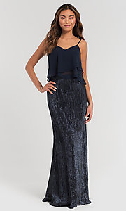 Shop sequin two-piece bridesmaid dress by Kleinfeld. Style: KL-200071 Front Image