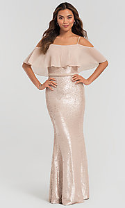 Image of sequin long bridesmaid dress with flounce top. Style: KL-200078 Detail Image 3