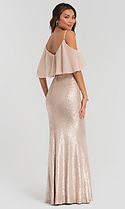 Image of sequin long bridesmaid dress with flounce top. Style: KL-200078 Detail Image 4