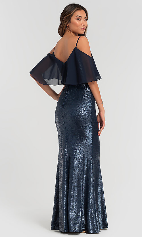 Image of sequin long bridesmaid dress with flounce top. Style: KL-200078 Back Image