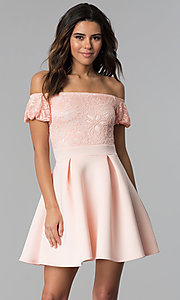 Short Lace-Bodice Off-the-Shoulder Party Dress