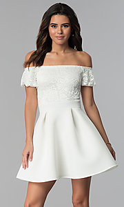Image of short lace-bodice off-the-shoulder party dress. Style: DC-46278 Detail Image 3