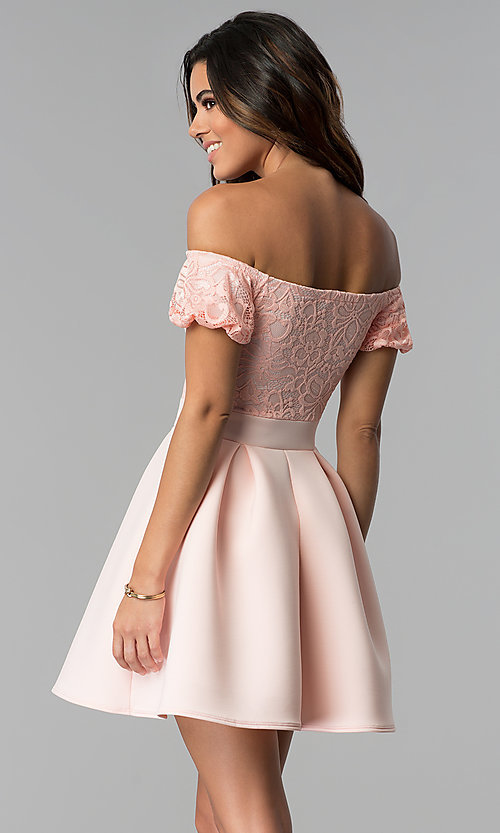Image of short lace-bodice off-the-shoulder party dress. Style: DC-46278 Back Image