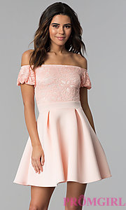 Image of short lace-bodice off-the-shoulder party dress. Style: DC-46290 Front Image