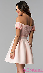 Image of short lace-bodice off-the-shoulder party dress. Style: DC-46290 Back Image