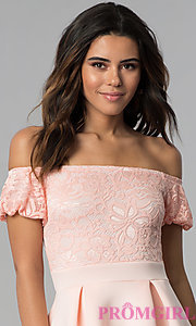 Image of short lace-bodice off-the-shoulder party dress. Style: DC-46290 Detail Image 1