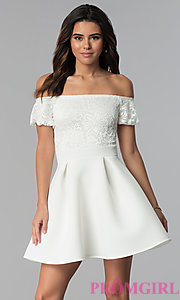 Image of short lace-bodice off-the-shoulder party dress. Style: DC-46290 Detail Image 3