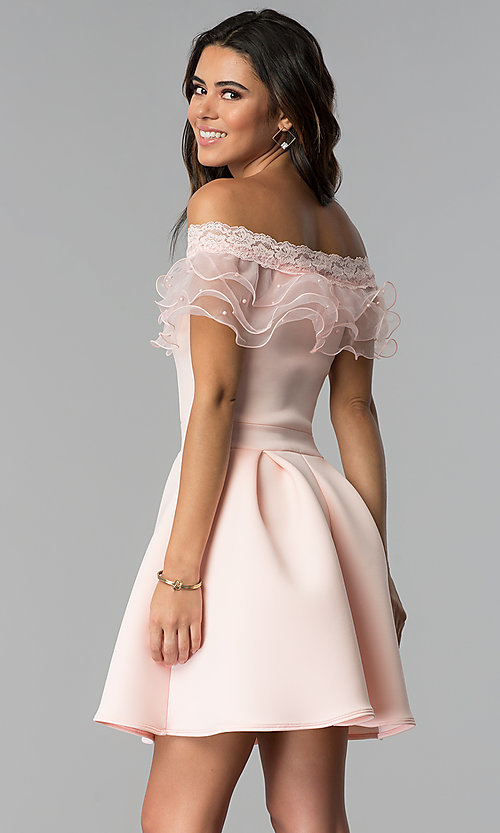 Image of short off-the-shoulder party dress with ruffle. Style: DC-46290 Back Image
