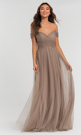 Off-the-Shoulder Long Formal Tulle Gown