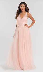 Image of cut-out long tulle bridesmaid dress. Style: KL-200104 Detail Image 3