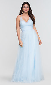 Image of cut-out long tulle bridesmaid dress. Style: KL-200104 Detail Image 6
