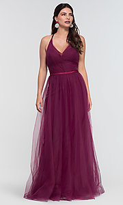 Image of cut-out long tulle bridesmaid dress. Style: KL-200104 Detail Image 7