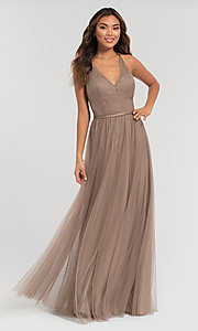 Image of cut-out long tulle bridesmaid dress. Style: KL-200104 Detail Image 5