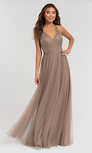 Cut-Out Long Tulle Bridesmaid Dress by Kleinfeld
