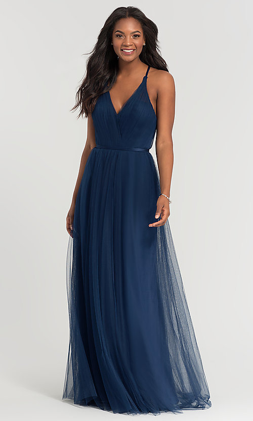 Image of cut-out long tulle bridesmaid dress. Style: KL-200104 Front Image