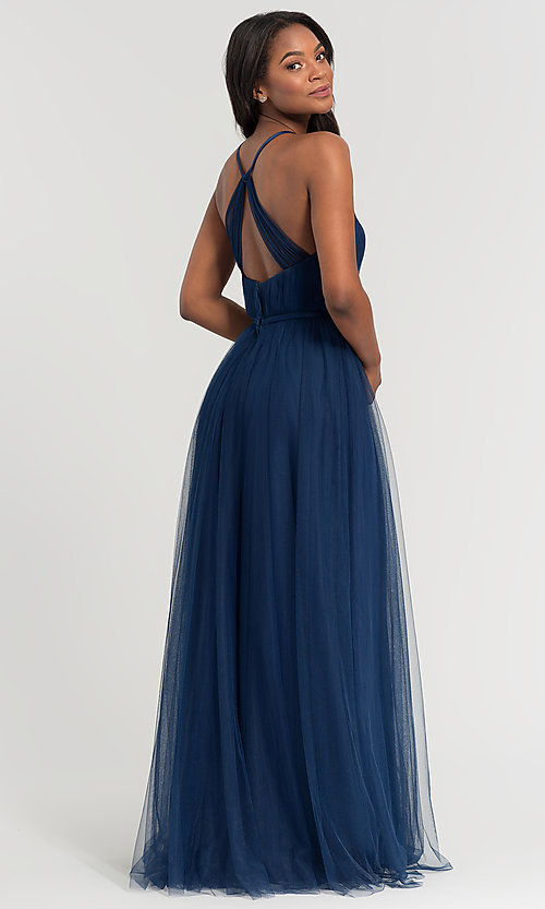 Image of cut-out long tulle bridesmaid dress. Style: KL-200104 Back Image