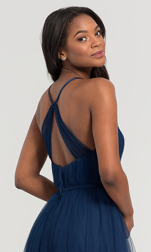 Image of cut-out long tulle bridesmaid dress. Style: KL-200104 Detail Image 2