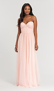 Image of sweetheart long tulle bridesmaid dress. Style: KL-200107 Detail Image 2