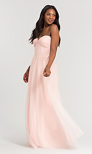 Image of sweetheart long tulle bridesmaid dress. Style: KL-200107 Detail Image 5