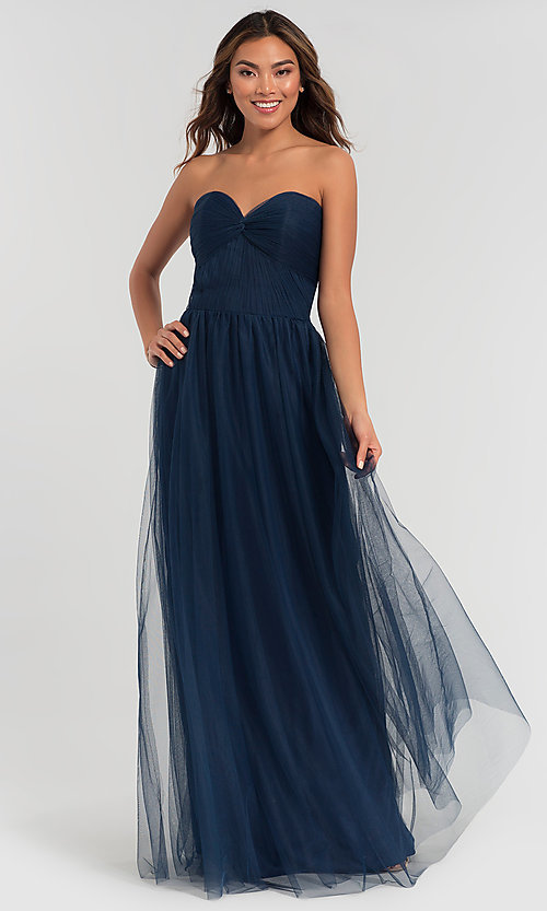 Image of sweetheart long tulle bridesmaid dress. Style: KL-200107 Detail Image 7