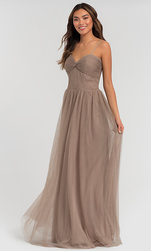 Image of sweetheart long tulle bridesmaid dress. Style: KL-200107 Front Image