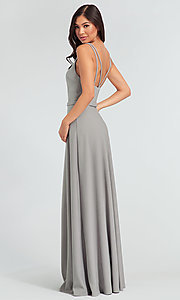 Image of double-strappy-back long bridesmaid dress. Style: KL-200023 Back Image