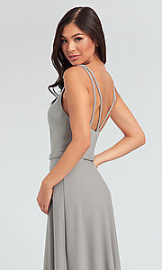 Image of double-strappy-back long bridesmaid dress. Style: KL-200023 Detail Image 2