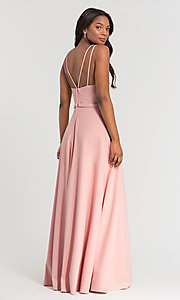 Image of double-strappy-back long bridesmaid dress. Style: KL-200023 Detail Image 7