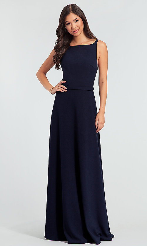 Image of double-strappy-back long bridesmaid dress. Style: KL-200023 Front Image
