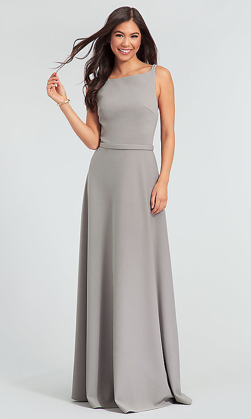Image of double-strappy-back long bridesmaid dress. Style: KL-200023 Detail Image 1