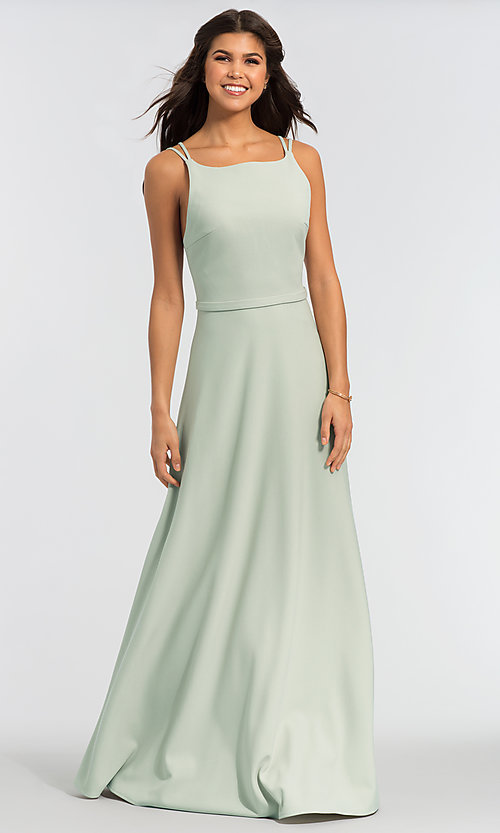 Image of double-strappy-back long bridesmaid dress. Style: KL-200023 Detail Image 3