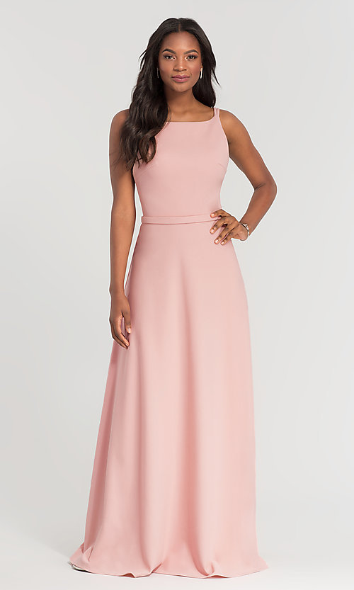 Image of double-strappy-back long bridesmaid dress. Style: KL-200023 Detail Image 6