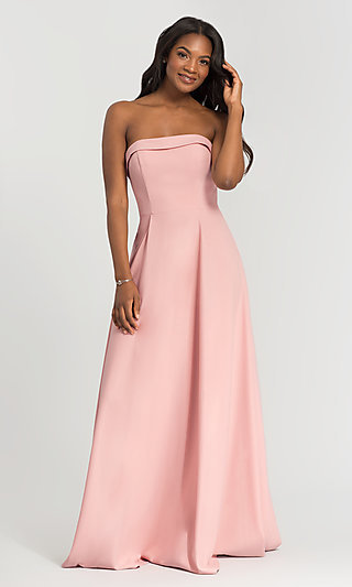 Long Bridesmaid Dress with Removable Straps
