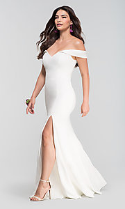 Image of off-shoulder long bridesmaid dress by Kleinfeld. Style: KL-200025 Detail Image 3