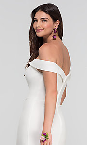 Image of off-shoulder long bridesmaid dress by Kleinfeld. Style: KL-200025 Detail Image 4