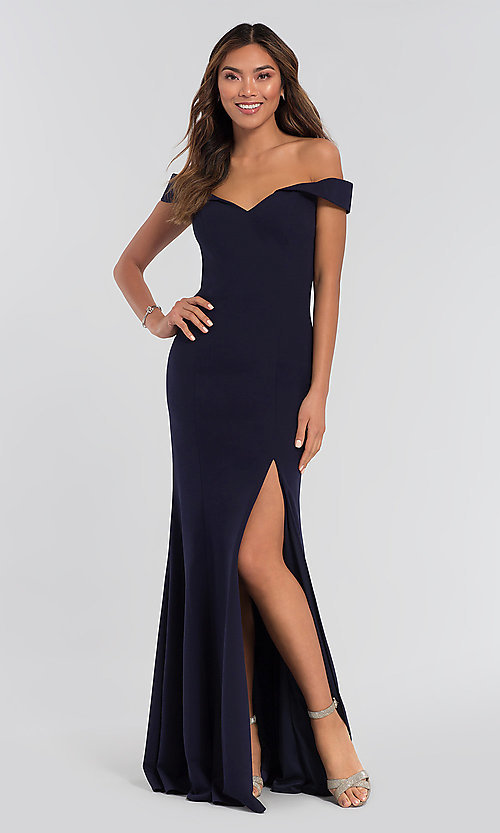 Image of off-shoulder long bridesmaid dress by Kleinfeld. Style: KL-200025 Detail Image 2