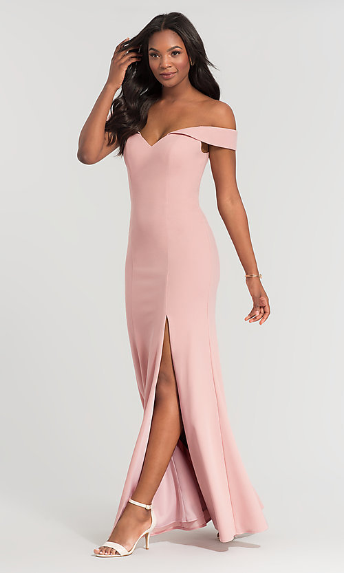 Image of off-shoulder long bridesmaid dress by Kleinfeld. Style: KL-200025 Front Image