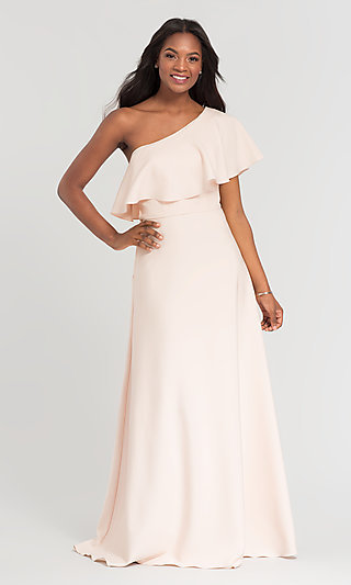 Kleinfeld Long One-Shoulder Bridesmaid Dress
