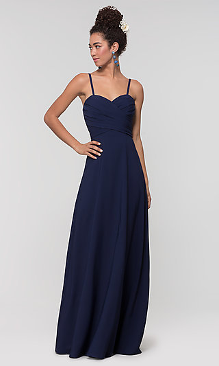 Long Removable-Straps Kleinfeld Bridesmaid Dress