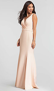 Image of satin v-neck long bridesmaid dress by Kleinfeld. Style: KL-200029 Detail Image 1