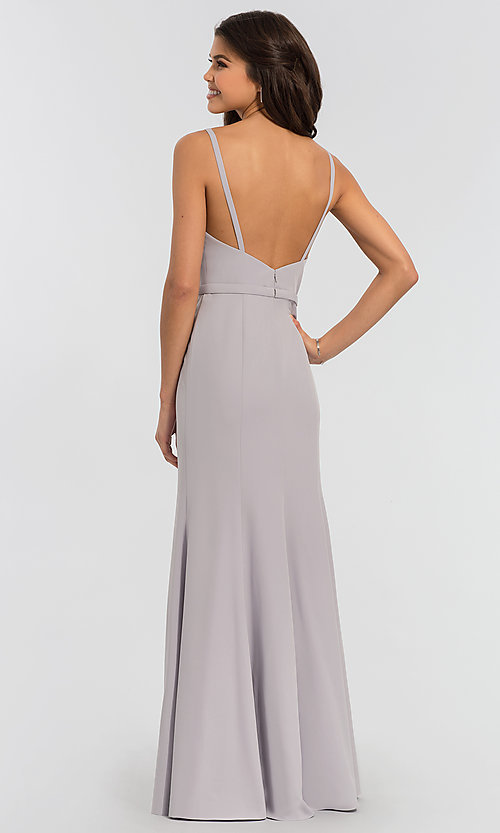 Image of satin v-neck long bridesmaid dress by Kleinfeld. Style: KL-200029 Detail Image 3
