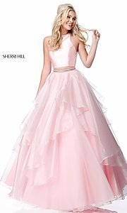 Image of long a-line two-piece Sherri Hill prom dress. Style: SH-51960 Detail Image 2