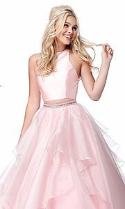 Image of long a-line two-piece Sherri Hill prom dress. Style: SH-51960 Detail Image 3