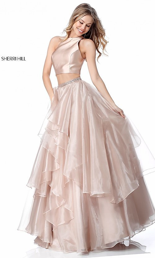 Image of long a-line two-piece Sherri Hill prom dress. Style: SH-51960 Front Image