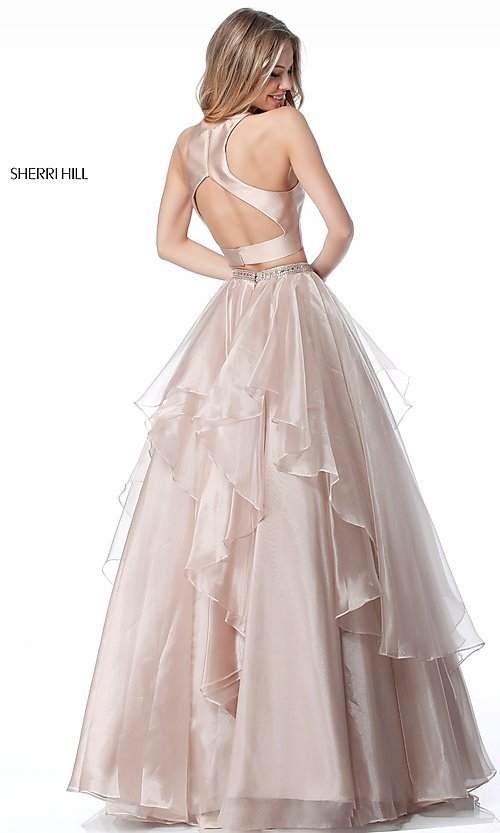 Image of long a-line two-piece Sherri Hill prom dress. Style: SH-51960 Back Image
