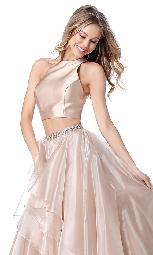 Image of long a-line two-piece Sherri Hill prom dress. Style: SH-51960 Detail Image 1