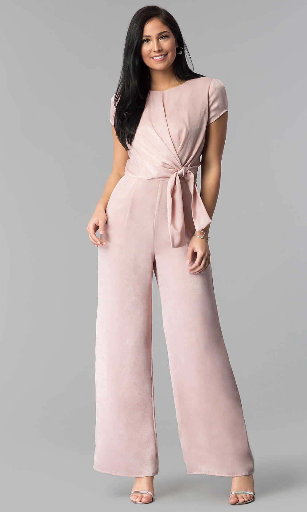 0bc599f59127 Sleeved Wide-Leg Wedding-Guest Jumpsuit - PromGirl